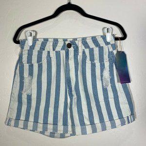 SMYM Denim Shorts Blue White Striped Cuff Hem 24
